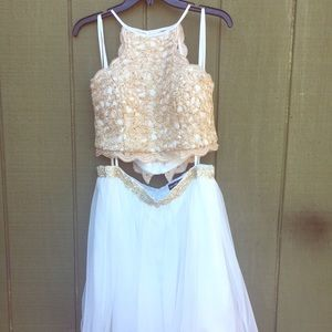 2 piece gold and white shirt prom dress